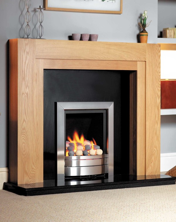 Hudson Fire Surround Shown Here in Clear Oak
