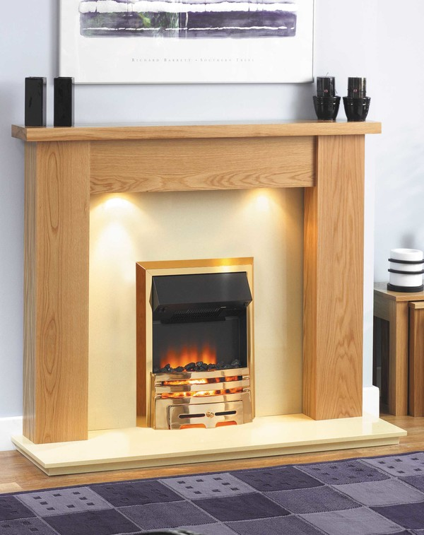 Jersey Fire Surround shown here in Clear Oak