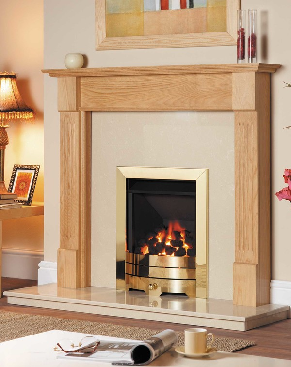 Canterbury Fire Surround is shown here in Clear Oak