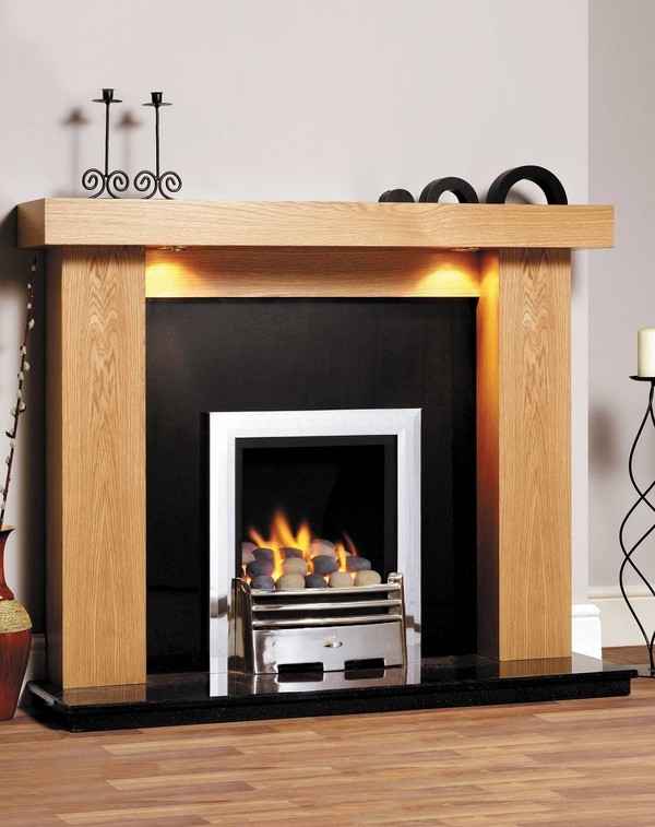 Manhattan Fire Surround is shown here in Clear Oak