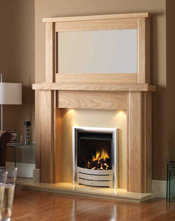Montreal Fire Surround is shown here in Matt Oak with the Nelson mirror