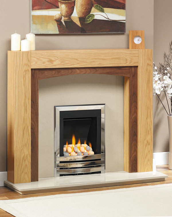 Philadelphia Fire Surround shown here in clear oak with American Walnut inlay.