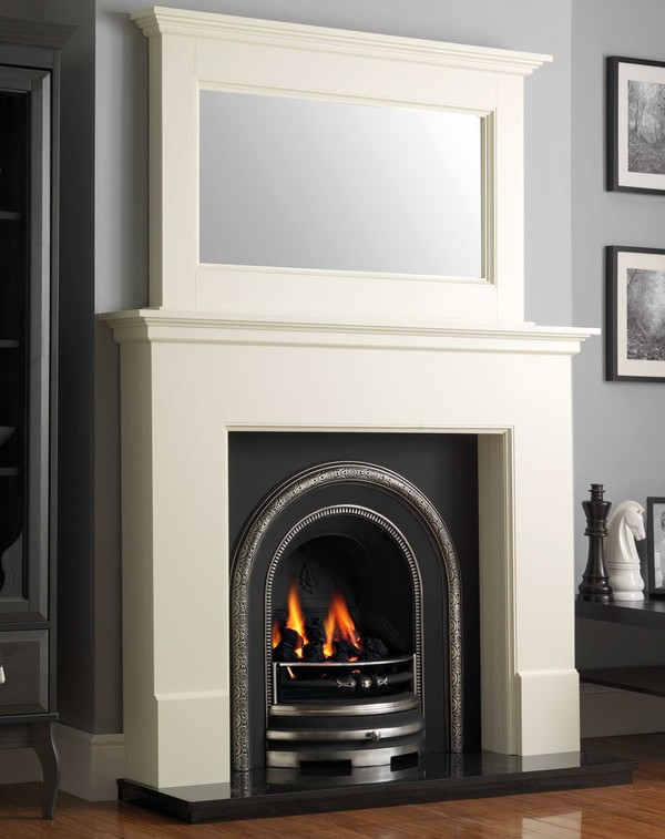 Wilmslow wood fire surround shown here in Olde England White