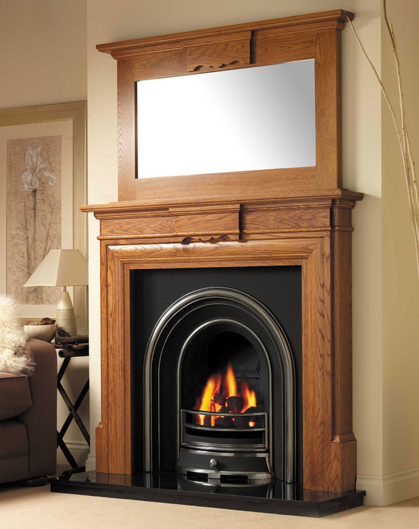 Denver Solid Oak fire surround shown here in Golden Oak