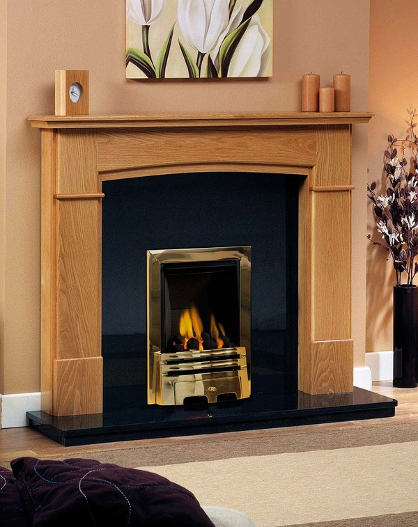 Vermont solid oak fireplace surround shown here in Golden Oak