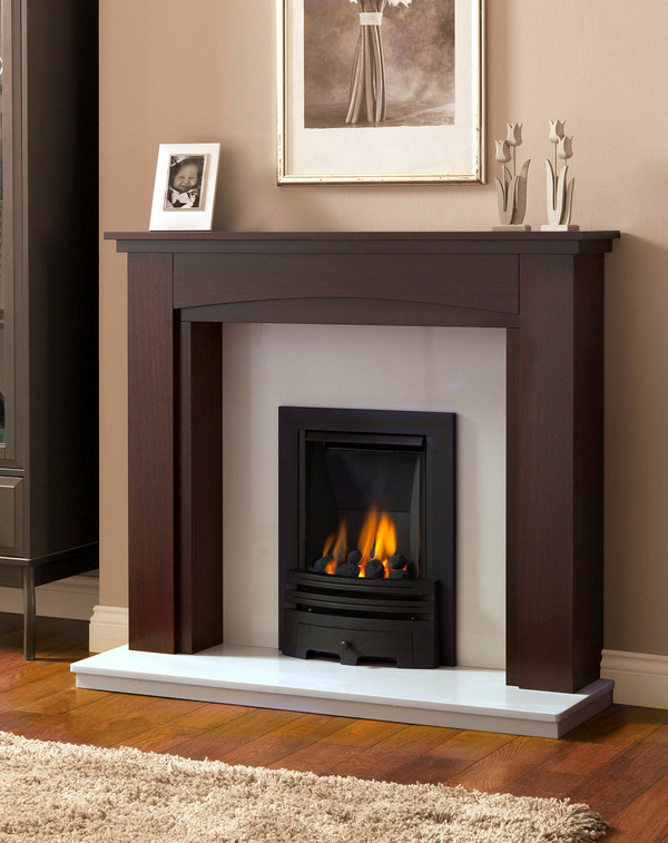 Windermere Fire Surrounds shown here in Brown Mahogany