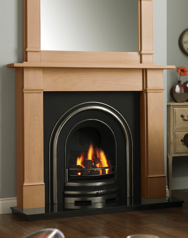 Columbia solid oak fire surround shown here in Clear Oak