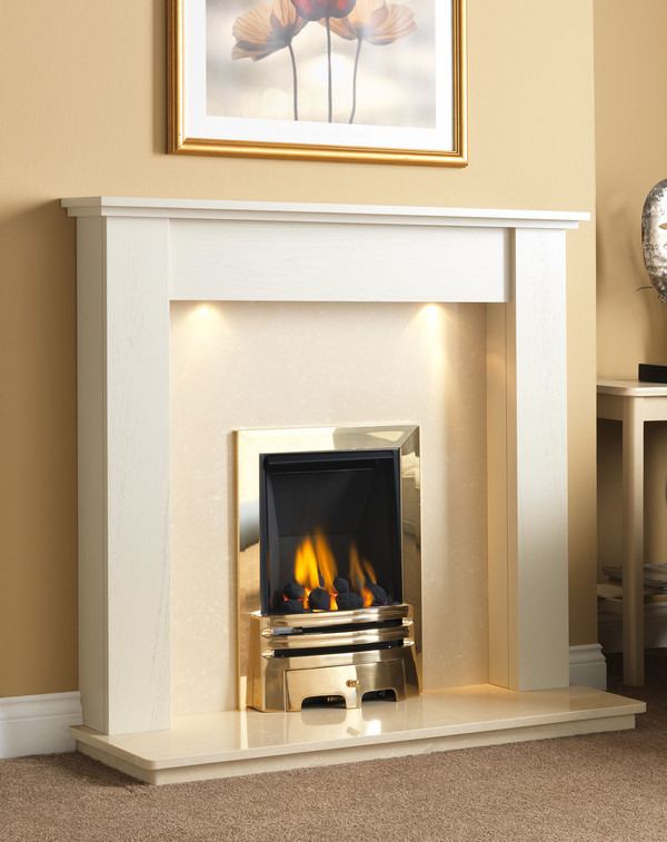 Fire Surround Shown Here Brilliant White