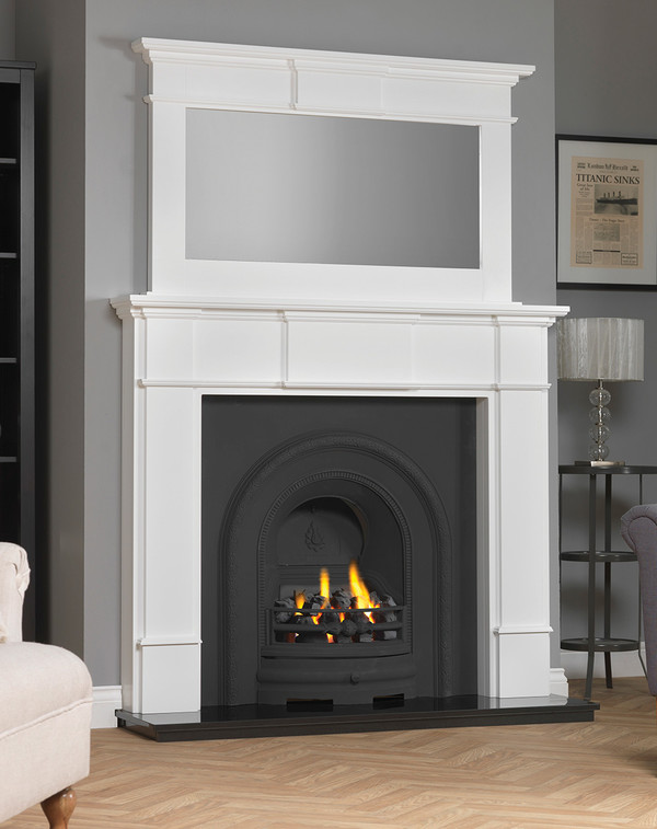 Chesham wood fire surround shown here in Brilliant White