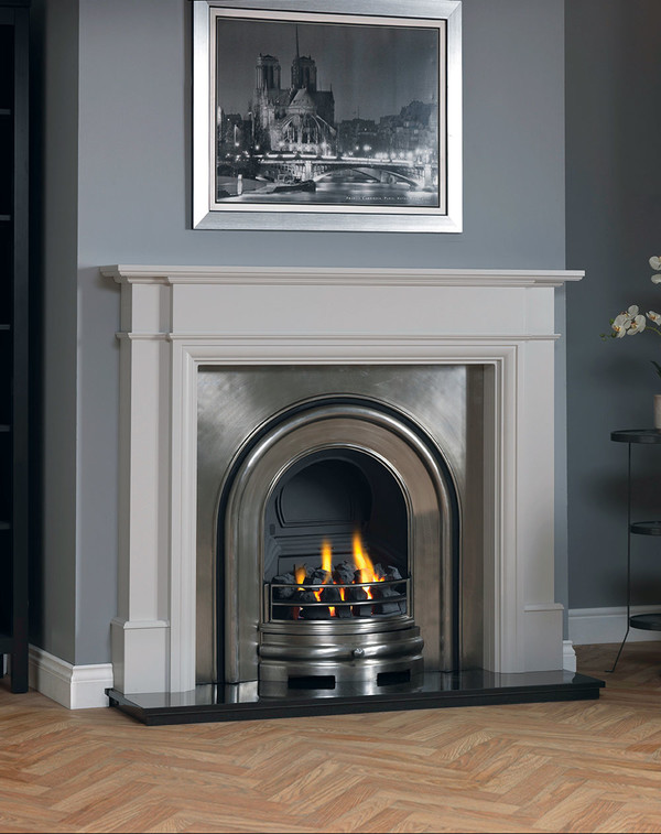 Hawthorn wood fire surround shown here in Smooth Mist