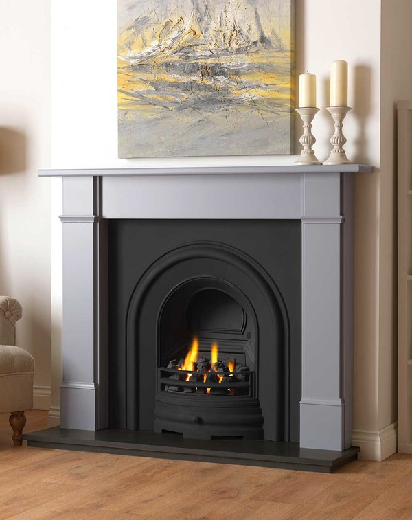 Rowan wood fire surround shown here in Smooth Cloud