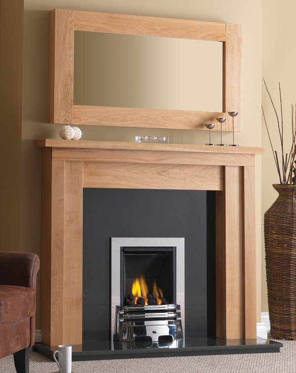 Austin Fire Surround is shown here in Matt Oak with the Canberra mirror
