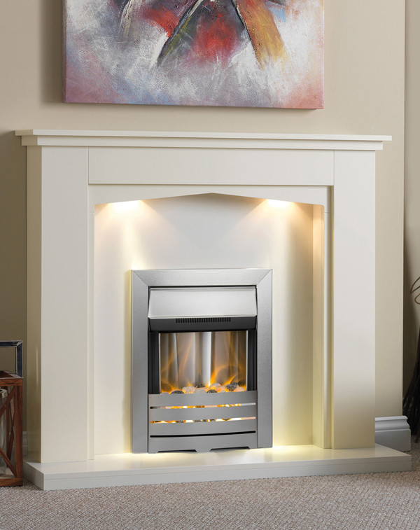 The Calais shown in Olde England White with matching hearth and back panel.