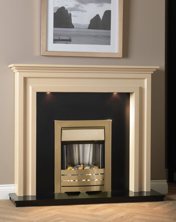 The La Rochelle Suite shown in Beige Stone with Matt Black hearth and back panel.