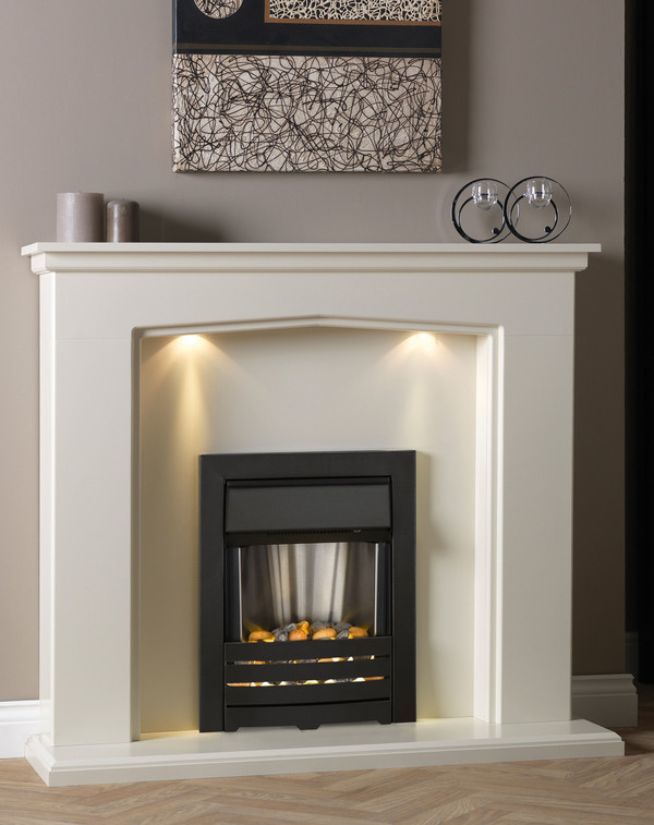 The Narbonne Suite shown in Olde England White with matching hearth and back panel.