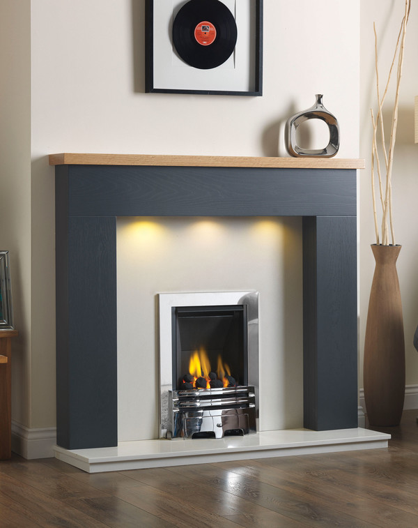 Fire Surround Shown Here in Slate with Clear Oak Shelf