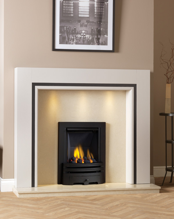 Wood Fireplace Surround Shown in Tudor Oak with black inlay