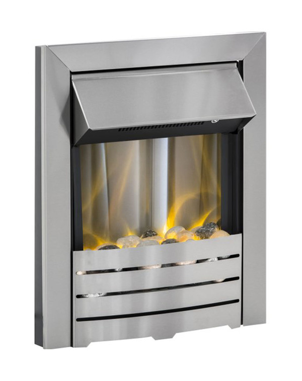 Helios Brushed Steel Electric Fire