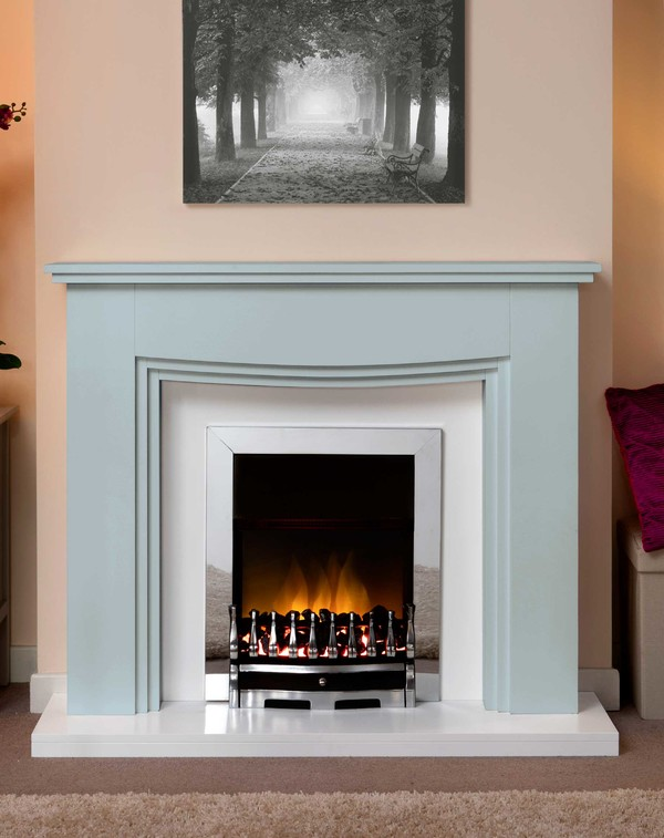 Connecticut Fire Surround In Bespoke Porcelain Blue