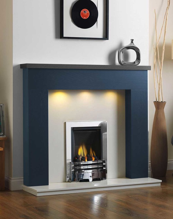 Ascari Fire Surround in the Bespoke Colour Saphire Blue