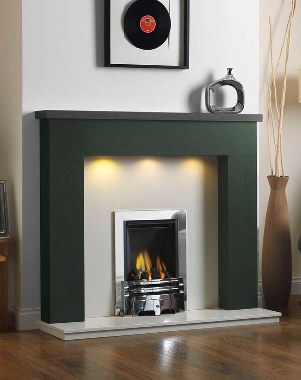 Ascari Fire Surround in the Bespoke Colour Pine Green