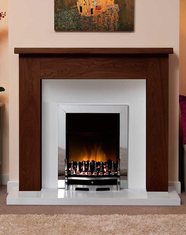 Small Woodcote Fire Surround Shown Here in Warm Oak
