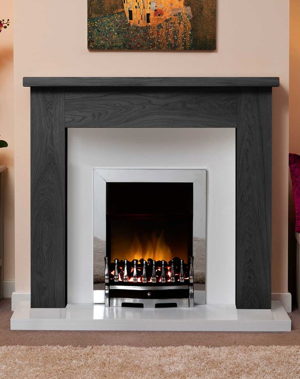 Small Charnwood Fire Surround Shown Here in Wood Grain Slate