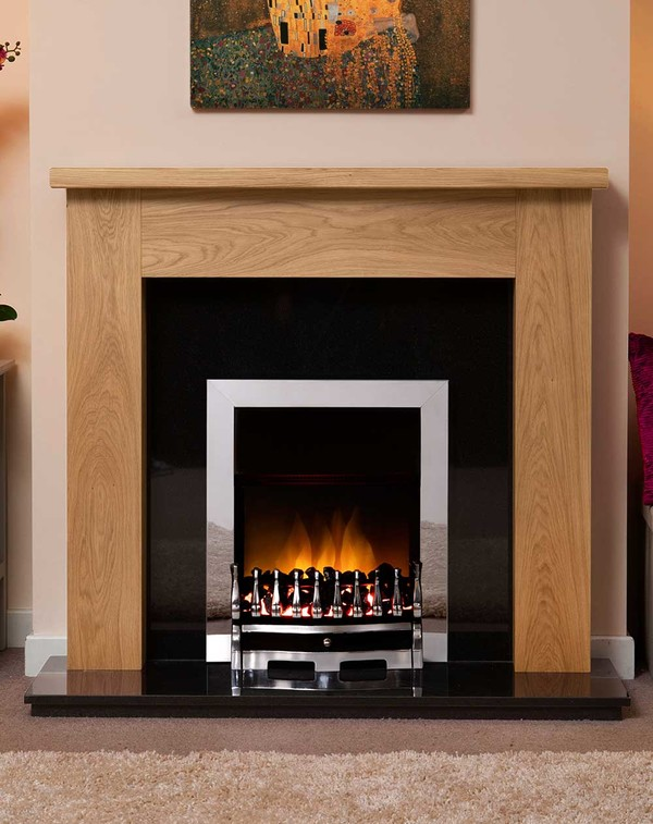 Small Woodcote Fire Surround Shown Here in Clear Oak