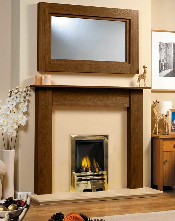 Fireplace Surround Shown in Warm Oak