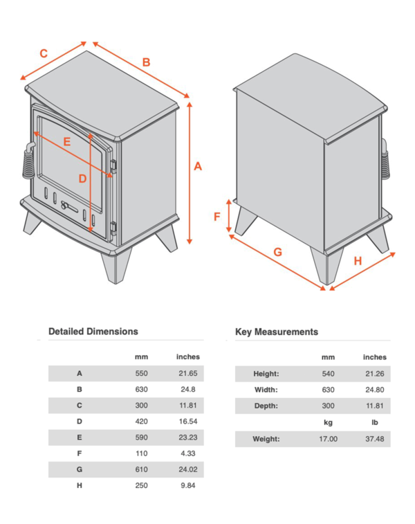 Full Stove dimensions