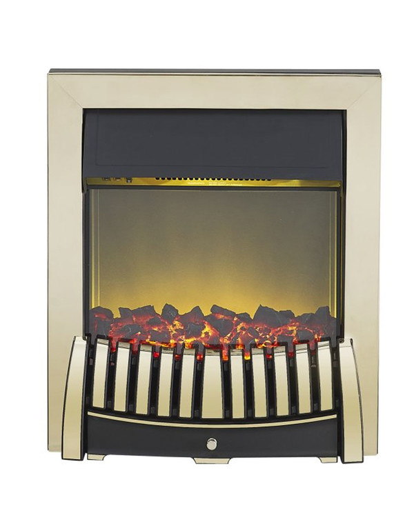 Elise Electric Fire in Brass and Black
