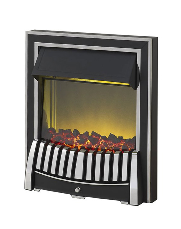 Elan Electric Fire in Chrome and Black