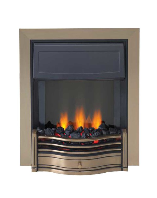 Danesbury electric fire in Antique Brass