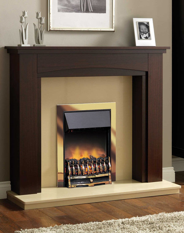 Wynford Slimline Electric Dimplex in Brass
