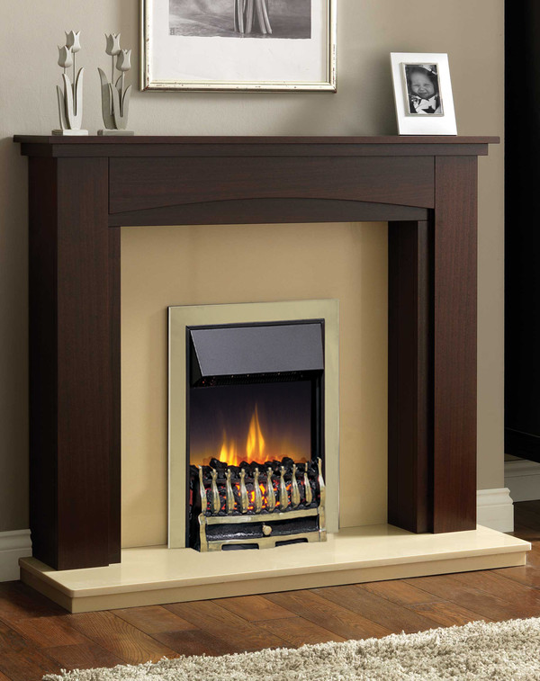 Wynford Slimline Electric Dimplex in Antique Brass