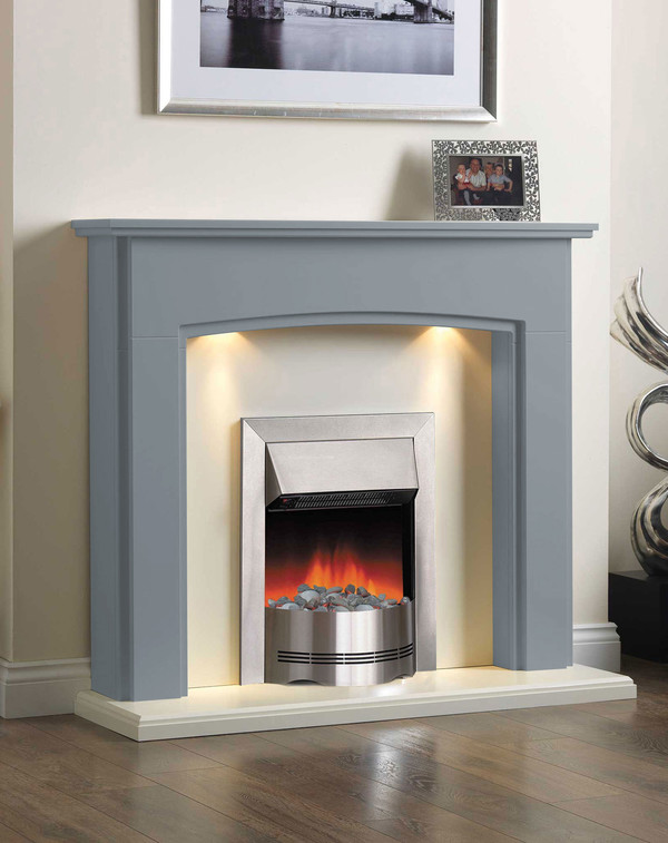 Electric Fireplace Suite in the Bespoke Colour Wedgwood Blue
