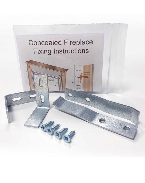 Fireplace Hidden Brackets, One Set Packaged