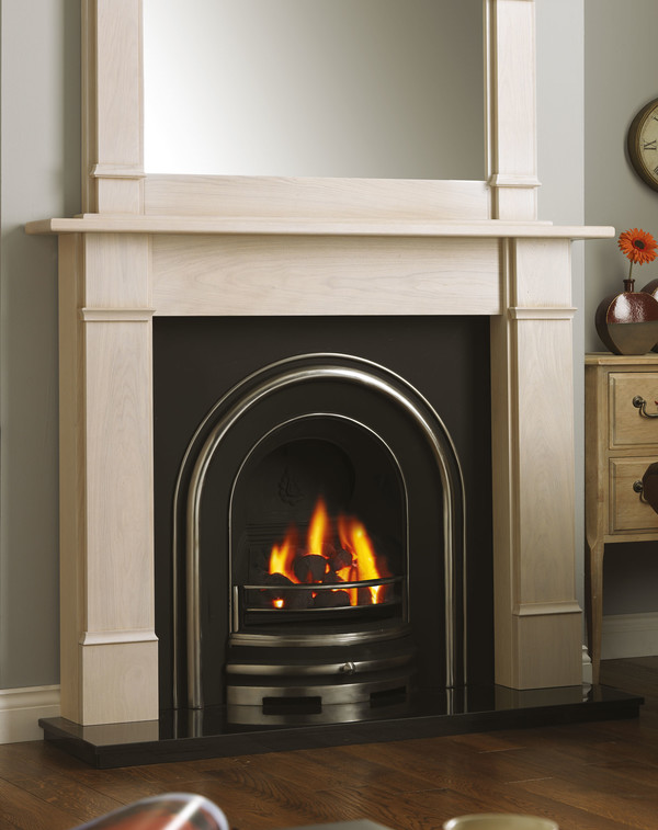 Columbia solid oak fire surround shown here in Nordic Oak