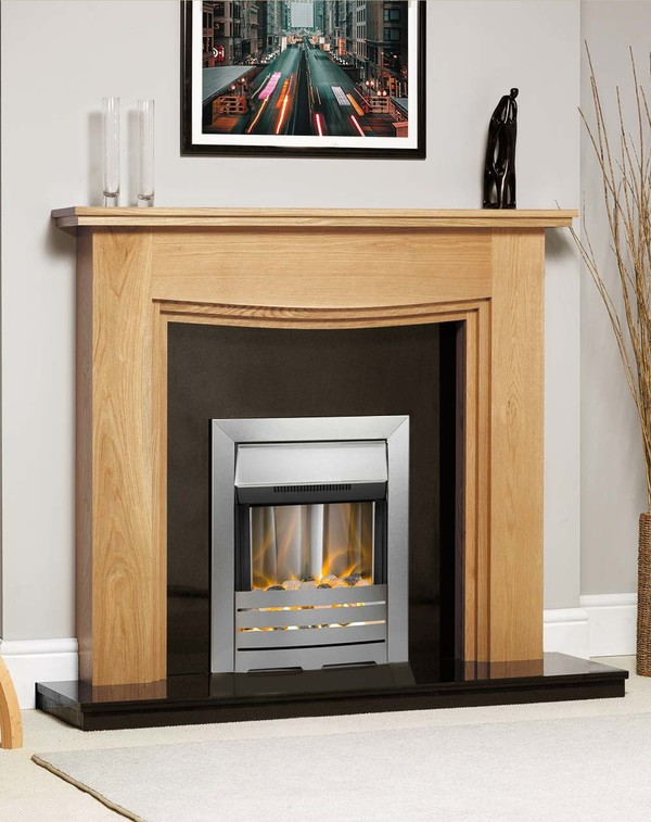 Connecticut Fire Surround Shown Here in Clear Oak