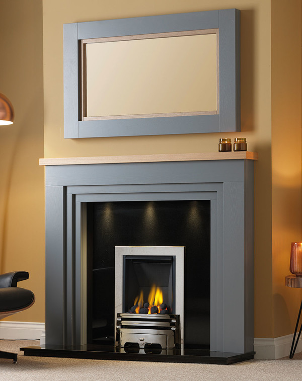 Fireplace Surround shown in the colour Storm with Clear Oak Shelf