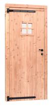 Woodvision | Douglas enkele deur met raam | Zwart beslag | Linksdraaiend
