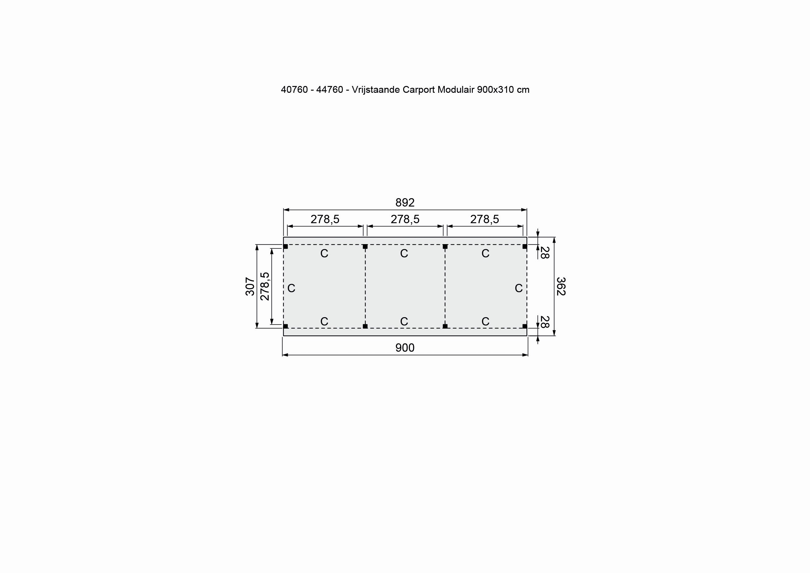 Douglasvision   Carport Vrijstaand 900 x 360