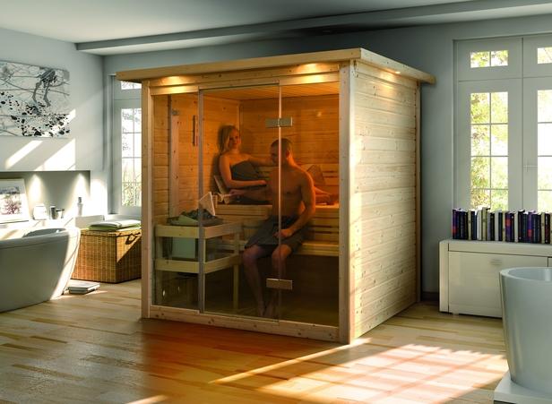 Karibu | Sauna Alabasta 1 met 8 kW saunakachel & kroonlijst