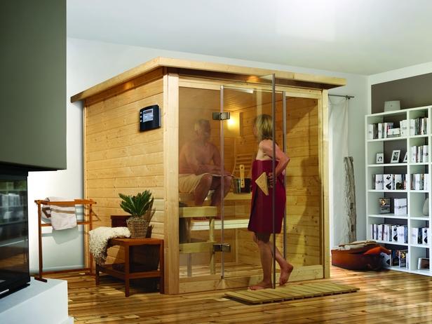 Karibu | Sauna Alabasta 2 met 9 kW bio-combikachel & kroonlijst