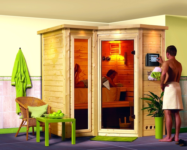 Karibu | Sauna Sahib 1 met 9 kW saunakachel & kroonlijst