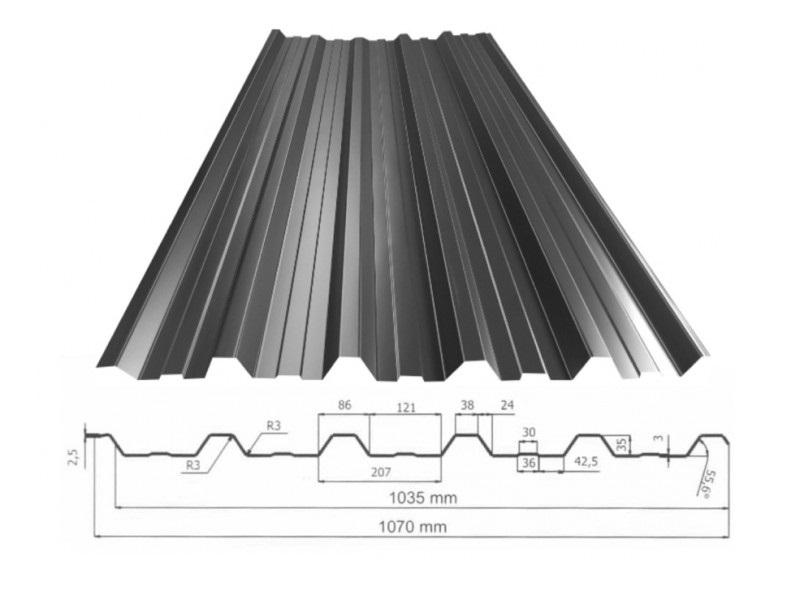 ArcelorMittal | Damwandplaat Trapezium TP35 | 9005 Zwart Mat 330 cm