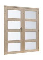 Woodvision | Vuren dubbele glasdeur 4-ruits | Geïmpregneerd groen