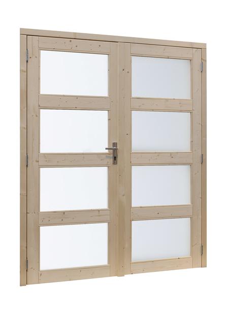 Woodvision | Vuren dubbele glasdeur 4-ruits