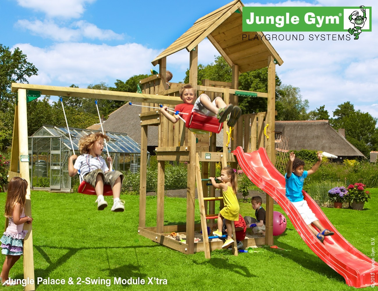 NuBuiten.nl.  Jungle Gym | Palace 2 Swing Module Xtra | DeLuxe | Rood