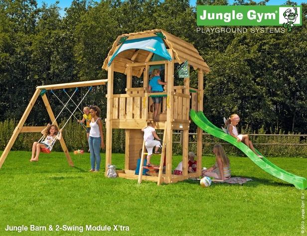 Jungle Gym | Barn + 2-Swing Module X'tra | DeLuxe | Blauw